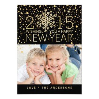 Holiday Photo Happy New Year Snowflake Confetti 4.5x6.25 Paper Invitation Card