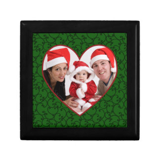 Holiday Photo Heart Green Frame Gift Box