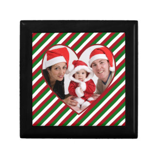 Holiday Photo Heart Stripes Frame Gift Box