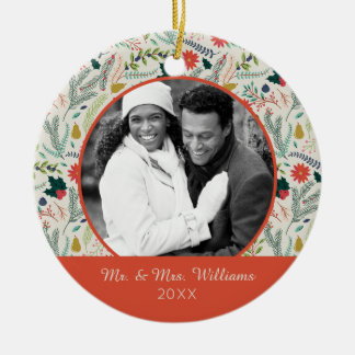 Holiday Photo   Merry Christmas Holiday Floral Ceramic Ornament