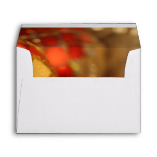 Holiday Photo of Red & Gold Ornaments Envelope