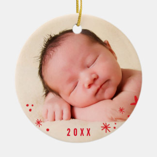 HOLIDAY PHOTO ORNAMENT hand lettered joy red