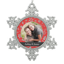 Holiday Photo Ornament   Red Personalized Design