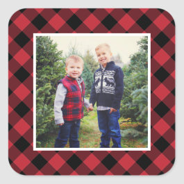 Holiday Photo | Red Plaid Frame Square Sticker