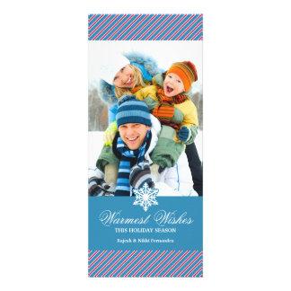 Holiday Photo Stripes Blue Flat Card
