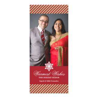 Holiday Photo Stripes Red Flat Card