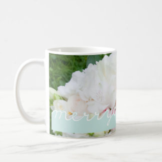 Holiday Photo White Blue Christmas Merry Christmas Coffee Mug