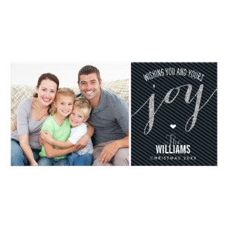 HOLIDAY PHOTOCARD striped glitter type joy black Card