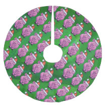 Holiday Pig in Santa Hat Pattern on Green Brushed Polyester Tree Skirt