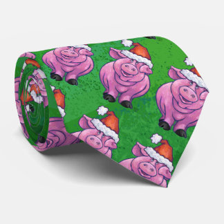 Holiday Pig in Santa Hat Pattern on Green Neck Tie