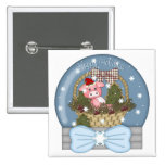 Holiday Pig Snow Globe 2 Inch Square Button