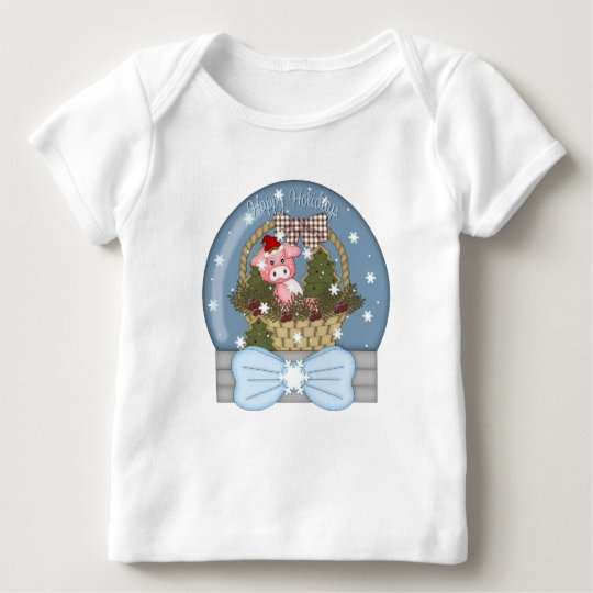 Holiday Pig Snow Globe Baby T-Shirt