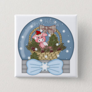 Holiday Pig Snow Globe Button