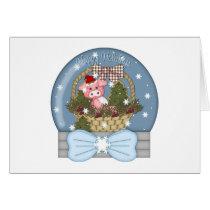 Holiday Pig Snow Globe Card