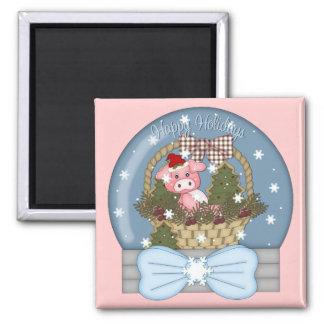 Holiday Pig Snow Globe Magnet