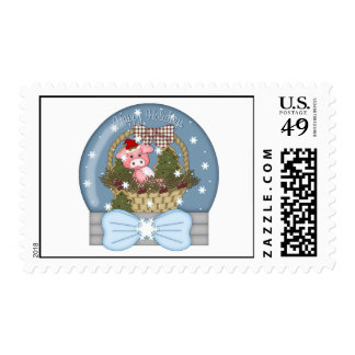 Holiday Pig Snow Globe Postage Stamps
