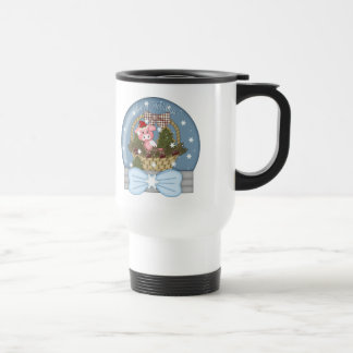 Holiday Pig Snow Globe Travel Mug