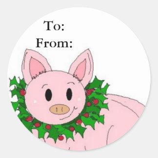 Holiday Piggy Gifttag Classic Round Sticker