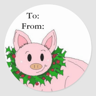 Holiday Piggy Gifttag Stickers