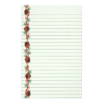 Holiday Pine Cone Lined Stationery