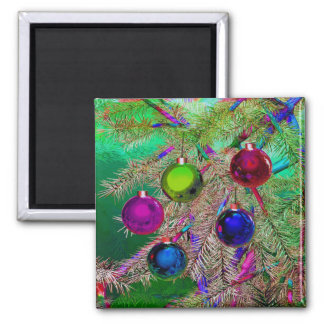 Holiday Pine Decor 2 Inch Square Magnet