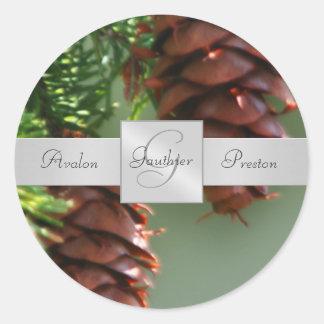 Holiday Pinecones Monogram Wedding Sticker