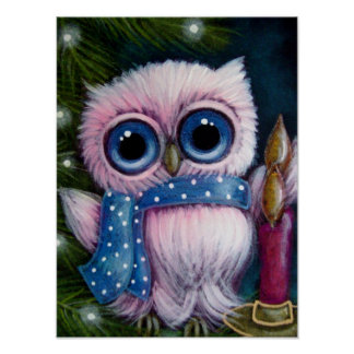 "HOLIDAY PINK OWL w SCARF & CANDLE 12"" X 16"" Poster"