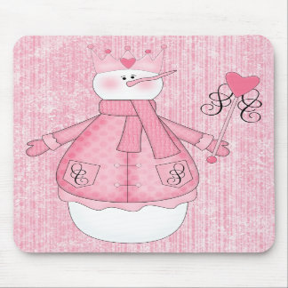 Holiday Pink Snow Angel - Customizable Mouse Pads