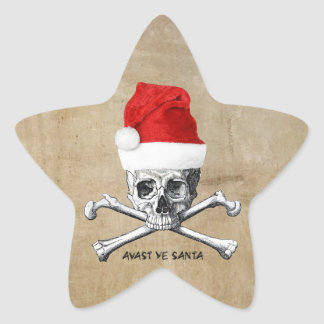 Holiday Pirate Skull and Crossbones Designs Star Sticker