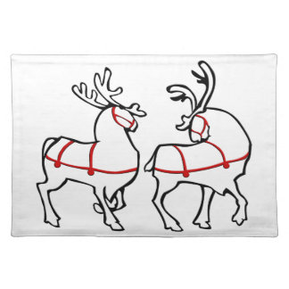 Holiday Place Mats Christmas Reindeer Party Decor