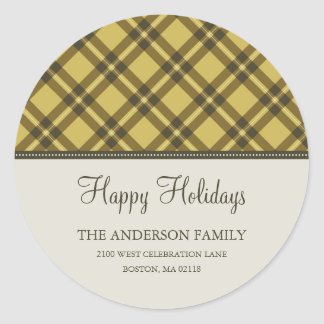 HOLIDAY PLAID | HOLIDAY ADDRESS LABEL STICKER