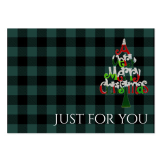 Holiday Plaid Merry Christmas Gift Certificate Large Business Card