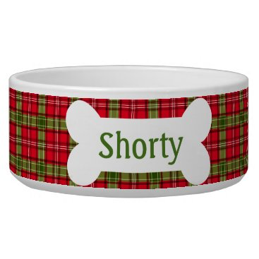 Christmas Themed Holiday Plaid Personalized Pet Bowl
