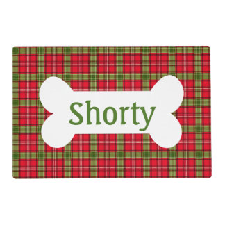 Holiday Plaid Personalized Pet Placemat