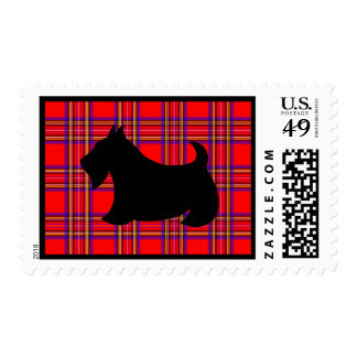 Holiday Plaid Scottish Terrier Postage Stamp