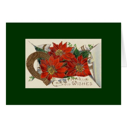 Holiday Poinsettia Antique Christmas Greeting Greeting Card