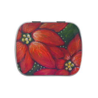HOLIDAY POINSETTIA FLOWERS CANDY TIN