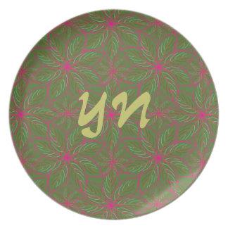 Holiday Poinsettia Pattern Melamine Plate