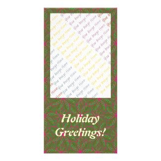 Holiday Poinsettia Pattern Customized Photo Card