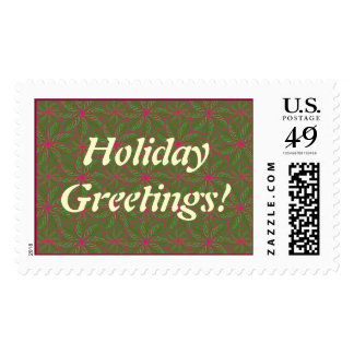 Holiday Poinsettia Pattern Postage Stamp