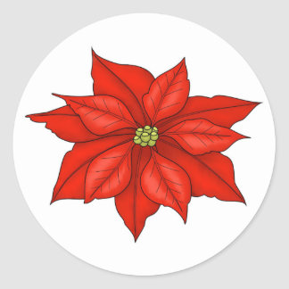 Holiday Poinsettia Stickers