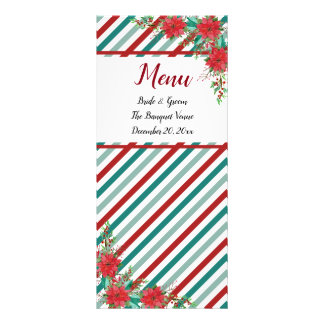 Holiday Poinsettia Stripes Red Green Wedding Menu