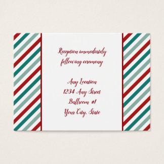 Holiday Poinsettia Stripes Wedding Reception Business Card