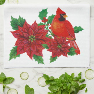 Holiday Poinsettias and Cardinal Kitchen Towel