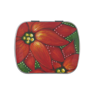 HOLIDAY POINSETTIAS CANDY TIN