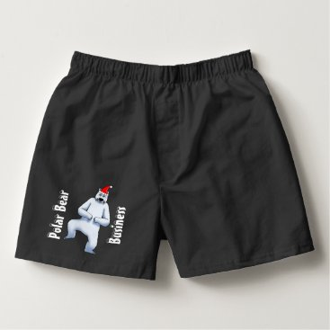 Professional Business Holiday Polar Bear Business Black Cotton Boxers