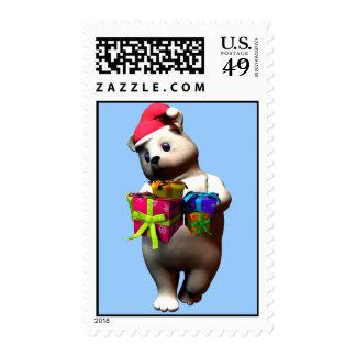 Holiday Polar Bear Postage Stamp