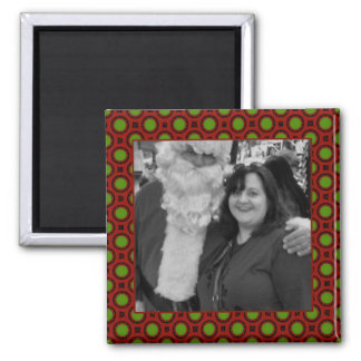 Holiday polka dots square photo frame 2 inch square magnet