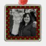 Holiday polka dots square photo frame square metal christmas ornament