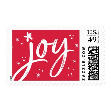 HOLIDAY POST red modern joy red white sparkles Postage
